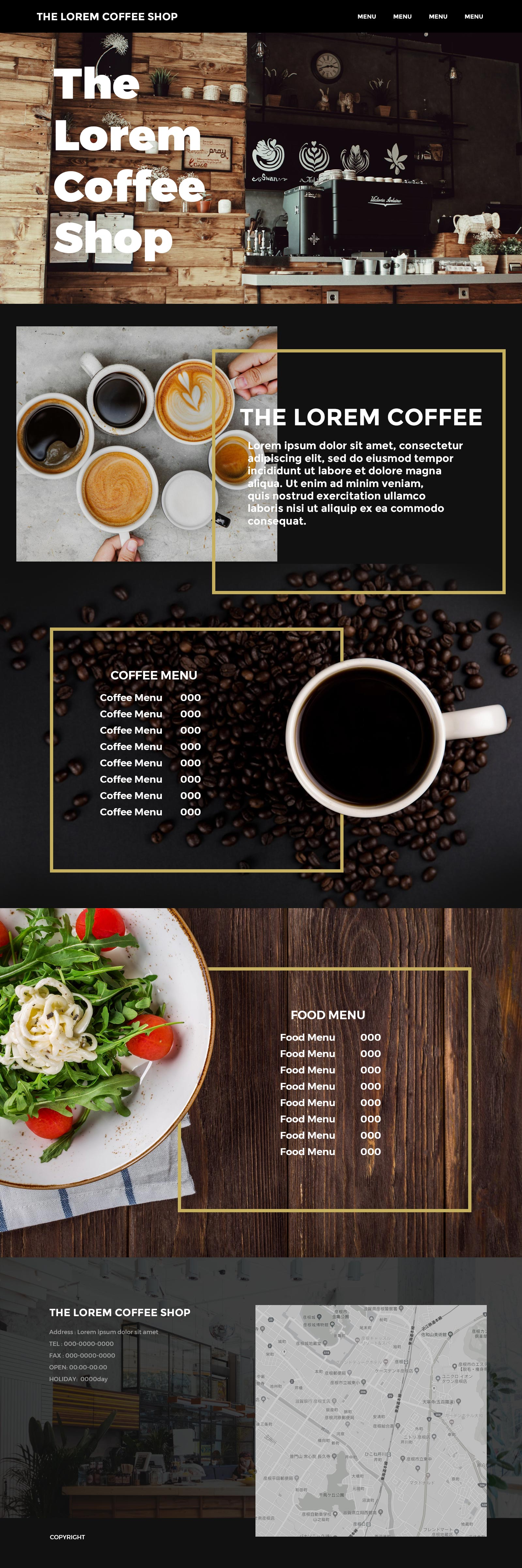 creator s recipe coffee shop web layout psdファイル